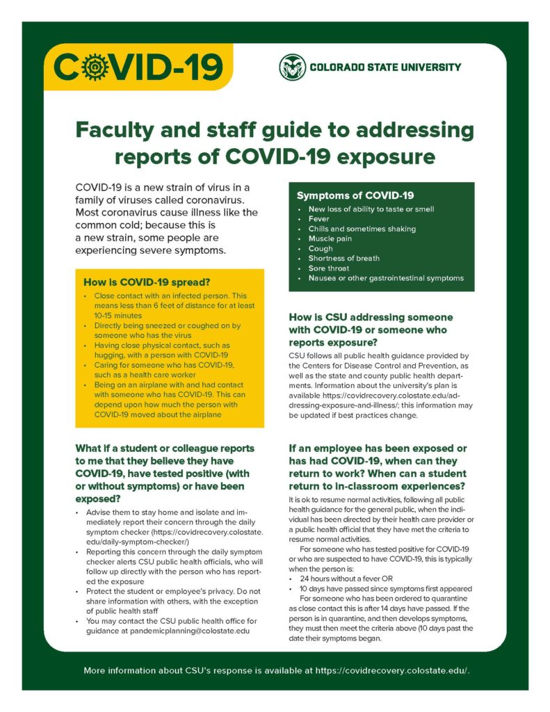 faculty and staff guide to addressing reports of COVID-19 exposure