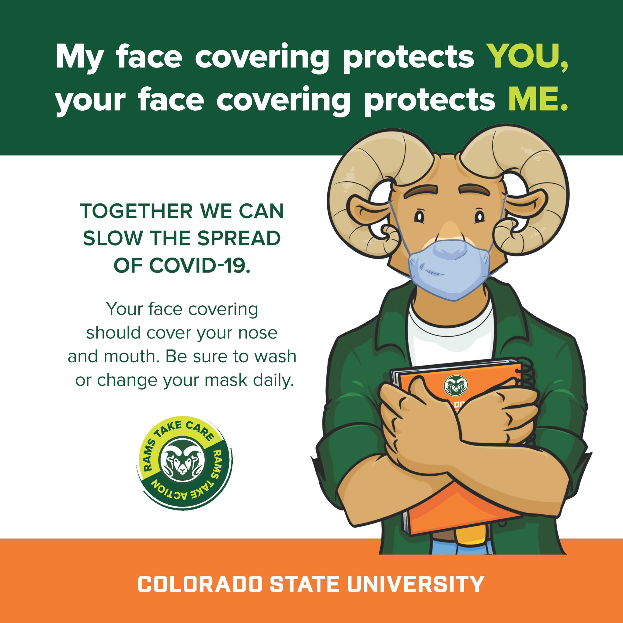 Wear a face covering - Cam the Ram